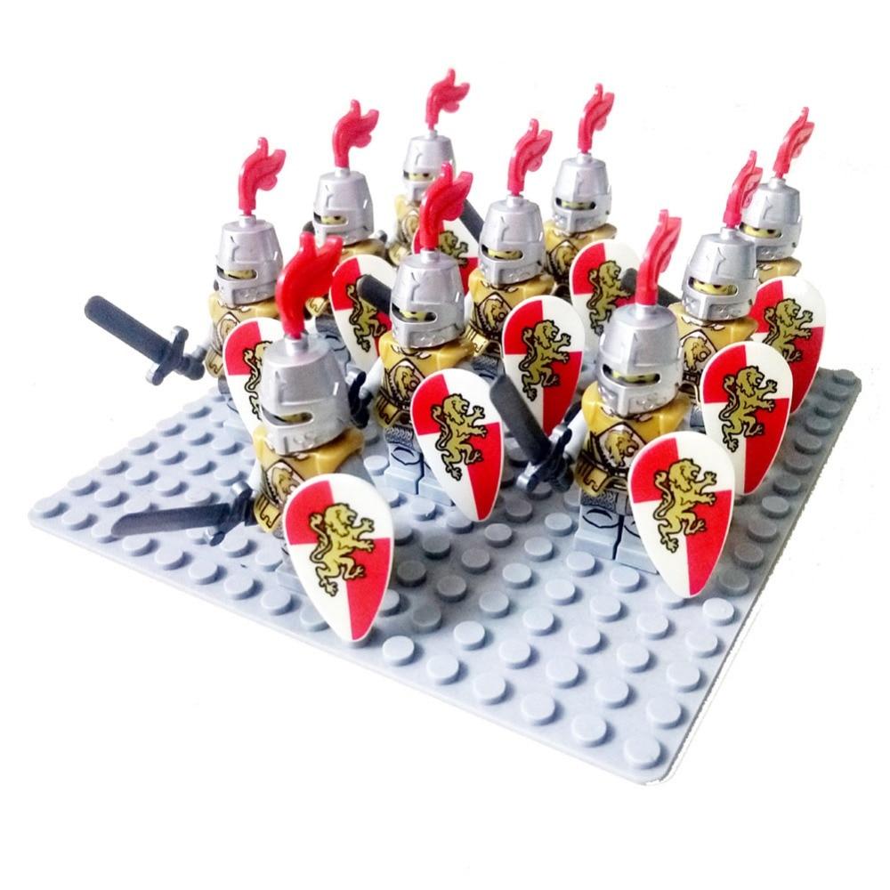 10 pcs Moyen Age Rome D'or Chevalier Faucon Château roi chevaliers compatible Bleu lion Building Block Dragon chevalier
