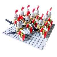 10 pièces moyen age Rome chevalier d'or château de faucon roi chevaliers compatible lion bleu bloc de construction Dragon Knight