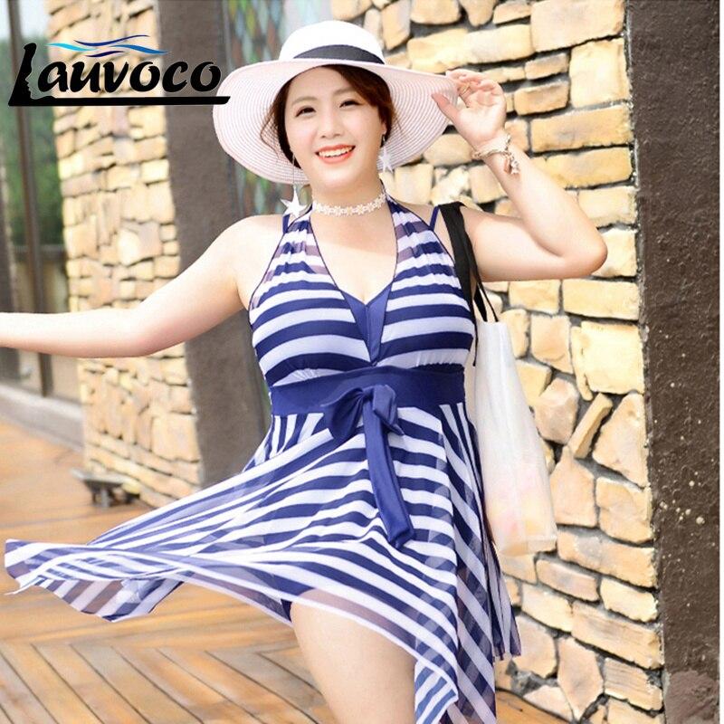d4819ca0fc4cf 2019 One Piece Swimsuit Plus Size Swimwear Women XL-6XL Swimdress Striped  Padded Bra Fat Bathing Suit Female Big Size Beachwear