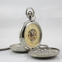 Mens Double Open Gold Face Hollow Mechanical Pocket Watch Silver