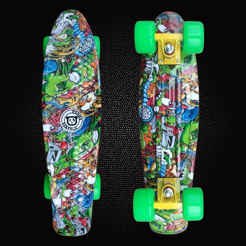 Livraison gratuite en plastique planche à roulettes de Graffiti imprimé Cruiser Style Long complet simple Rocker longue planche de skate conseil PD03