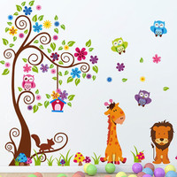 2016 New Design Double Layer Cartoon Giraffe Lion King Home Decoration Wall Stickers Child Room Wall