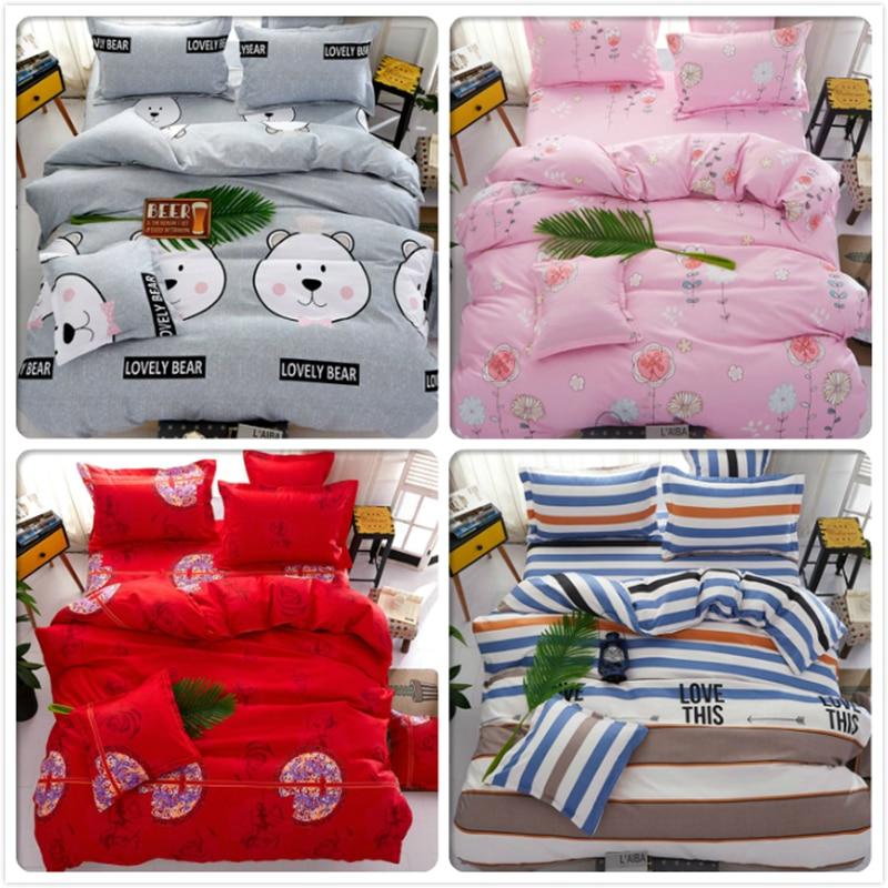 Power Source Enthusiastic Red Pink Gray Blue Stripe Plaid Bedlinen Kids 3/4 Pcs Bedding Set King Queen Double Size Duvet Quilt Cover 1.5m 1.8m 2m Bedsheet