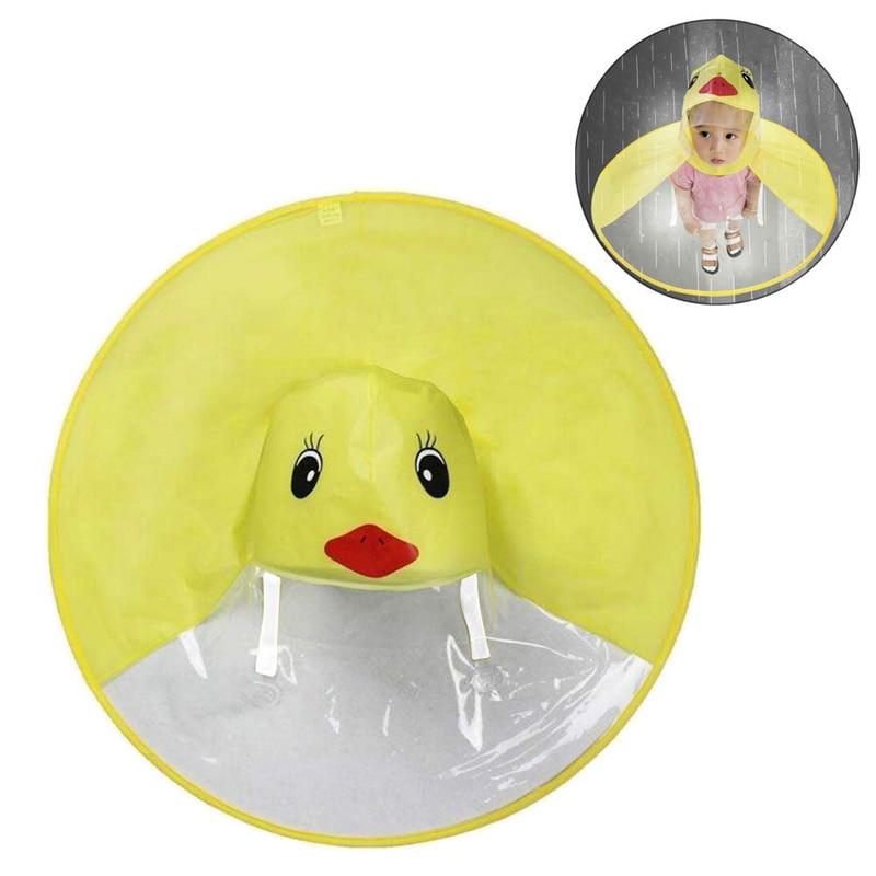 Creative Kids Rain Cover Cute Cartoon Duck UFO Children's Raincoat Boys And Girls Umbrella Hat Windproof Poncho Rain Gear Hot