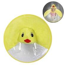 Creative Kids Rain Cover Cute Cartoon Duck UFO Childrens Raincoat Boys And Girls Umbrella Hat Windproof Poncho Gear Hot