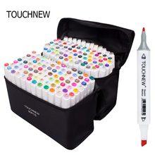 Marcadores touchnew conjunto 1 pcs animação esboço marcador dupla dicas desenho artista escova canetas para material escolar