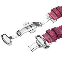 QIALINO Véritable En Cuir Femmes RoseRed Bracelet pour iWatch Acier Inoxydable Connexion Adaptateur pour Apple watch 42mm 38mm Série 2