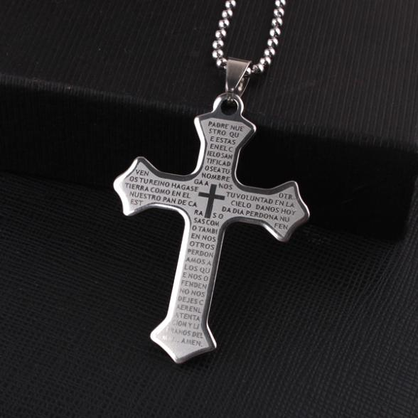 Free Shipping Silver Big Holy Bible Cross Pendant Necklaces Bead Chain For Men 316L Stainless Steel Necklace