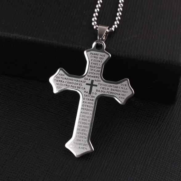 Frete grátis prata grande bíblia sagrada cruz pingente colares grânulo corrente para homens 316l aço inoxidável colar