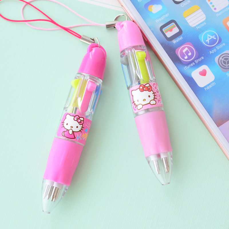 1X Kawaii Hello Kitty 4 Color Mini Keychain Style Portable Press Ballpoint Pen Student Writing Stationery School Office Supply