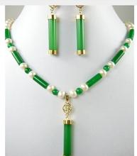 Women Gift Freshwater Green of/ jade-the pearl necklace of white+the jade locket pendant earring set>> the brides breadth watch