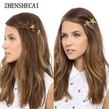 2017 Hot New Fashion Single retro metal start hairpin gold color single side clip hair jewelry for women hair accessories t56