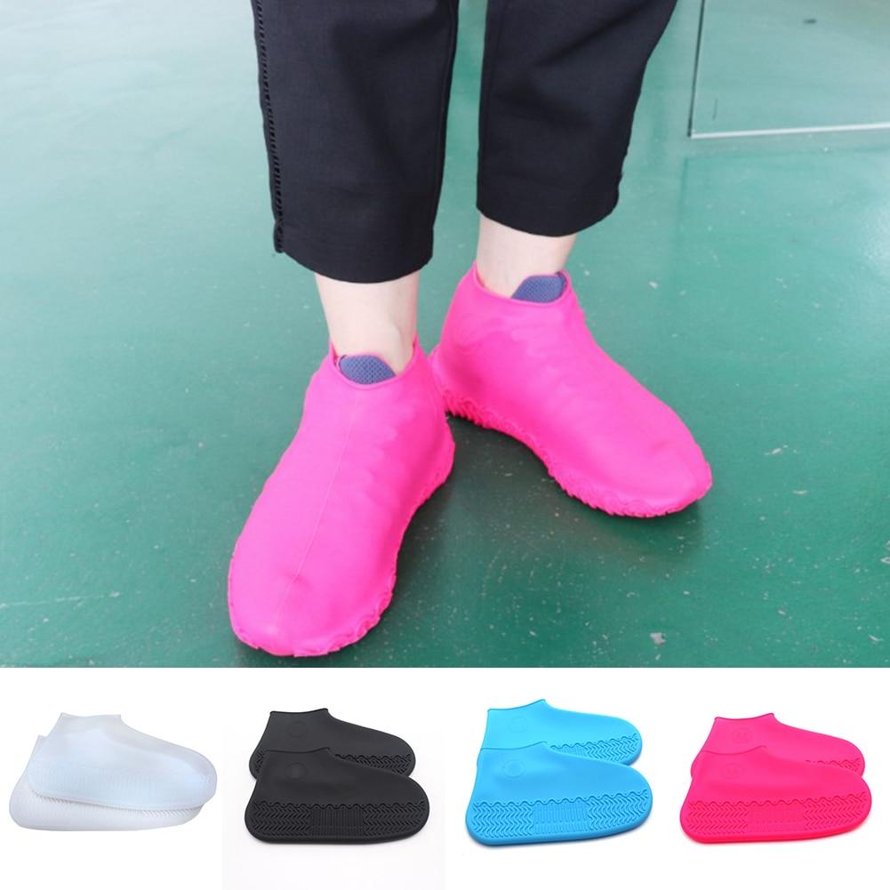 1 Pair Rubber Reusable Latex Waterproof Rain Shoes Covers Slip-resistant Rain Boot Motorcycle Bike Overshoes Shoes Accessories