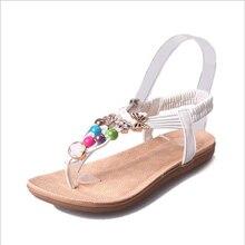 2017 New fashion style bohême d'été pur couleur pu sandales confortables femmes plat avec perles Pour Les Femmes. HYKL-558
