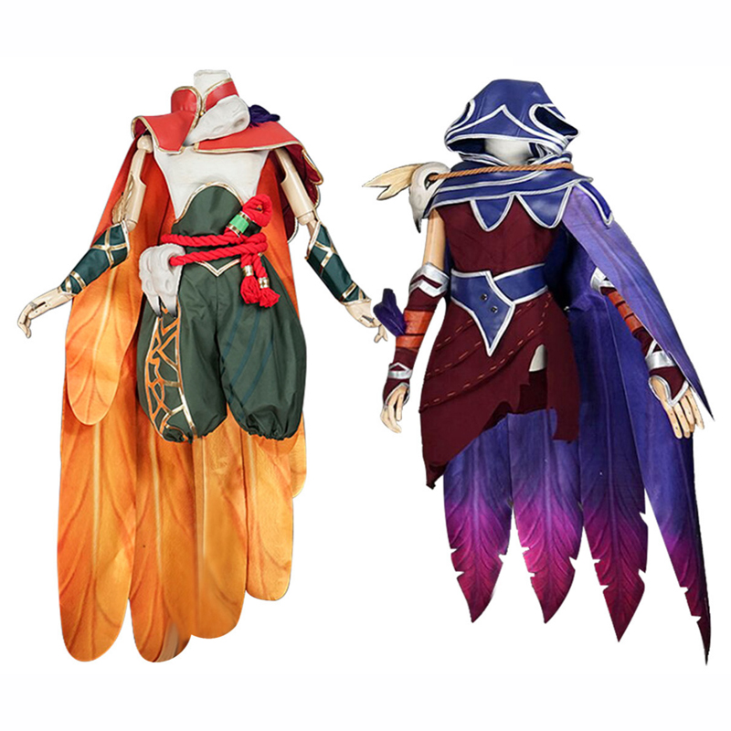 Hot Game LOL The Rebel Xayah The Charmer Rakan Cosplay Costume with printting pants Uniform Suit Christmas And Halloween Costume