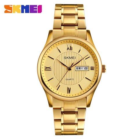 2019 Fashion Men Business Wrist Watch Golden Mens Watches Top Brand Luxury SKMEI Men Quartz Watch Male Watches Relogio Masculino Pakistan