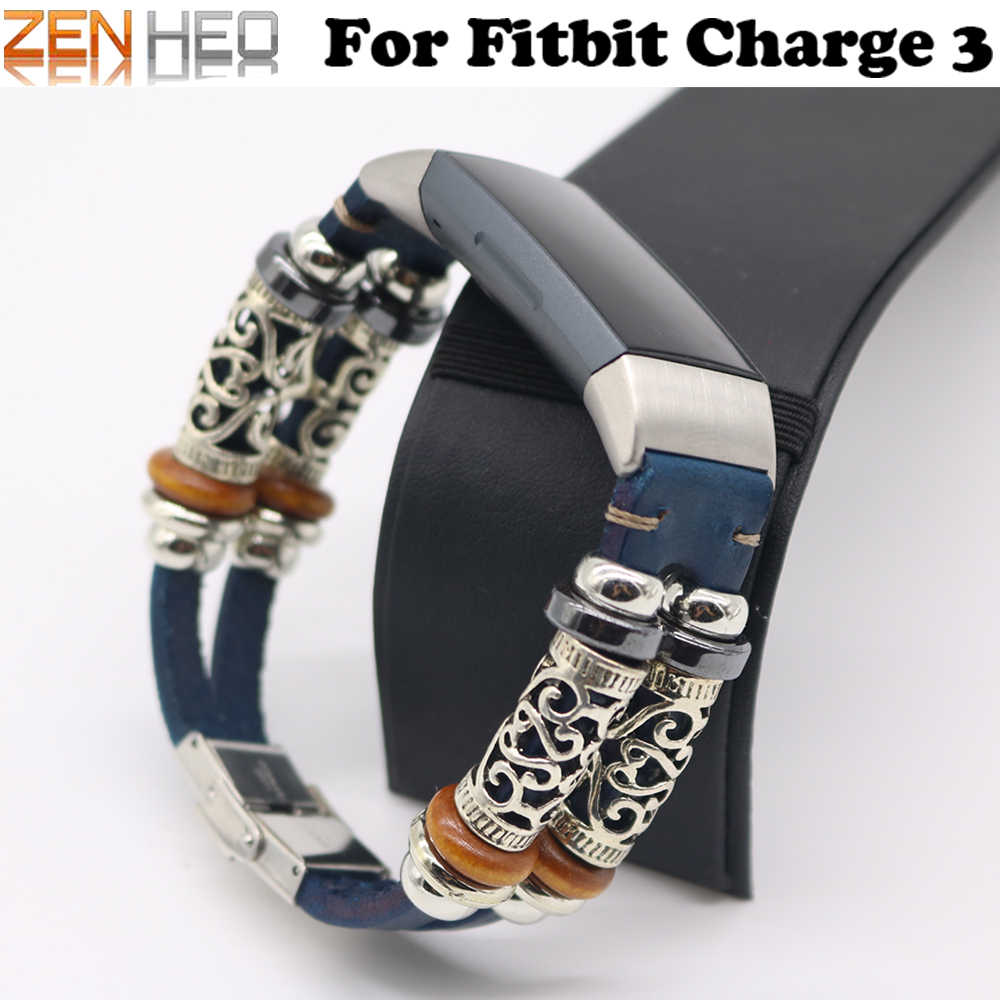 Retro Leather Strap Bracelet for Fitbit Charge 3 Band