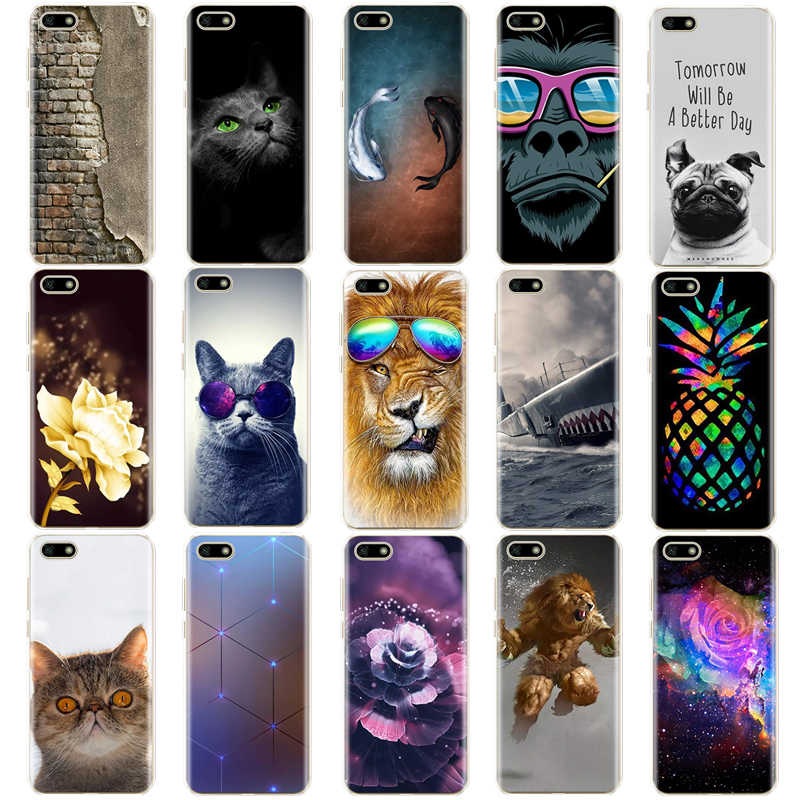 "Silicone case For 5.45"" inch Huawei Y5 2018 PRIME case Soft  back cover Phone Case for on Huawei Y5 2018 case Coque bumper bags"