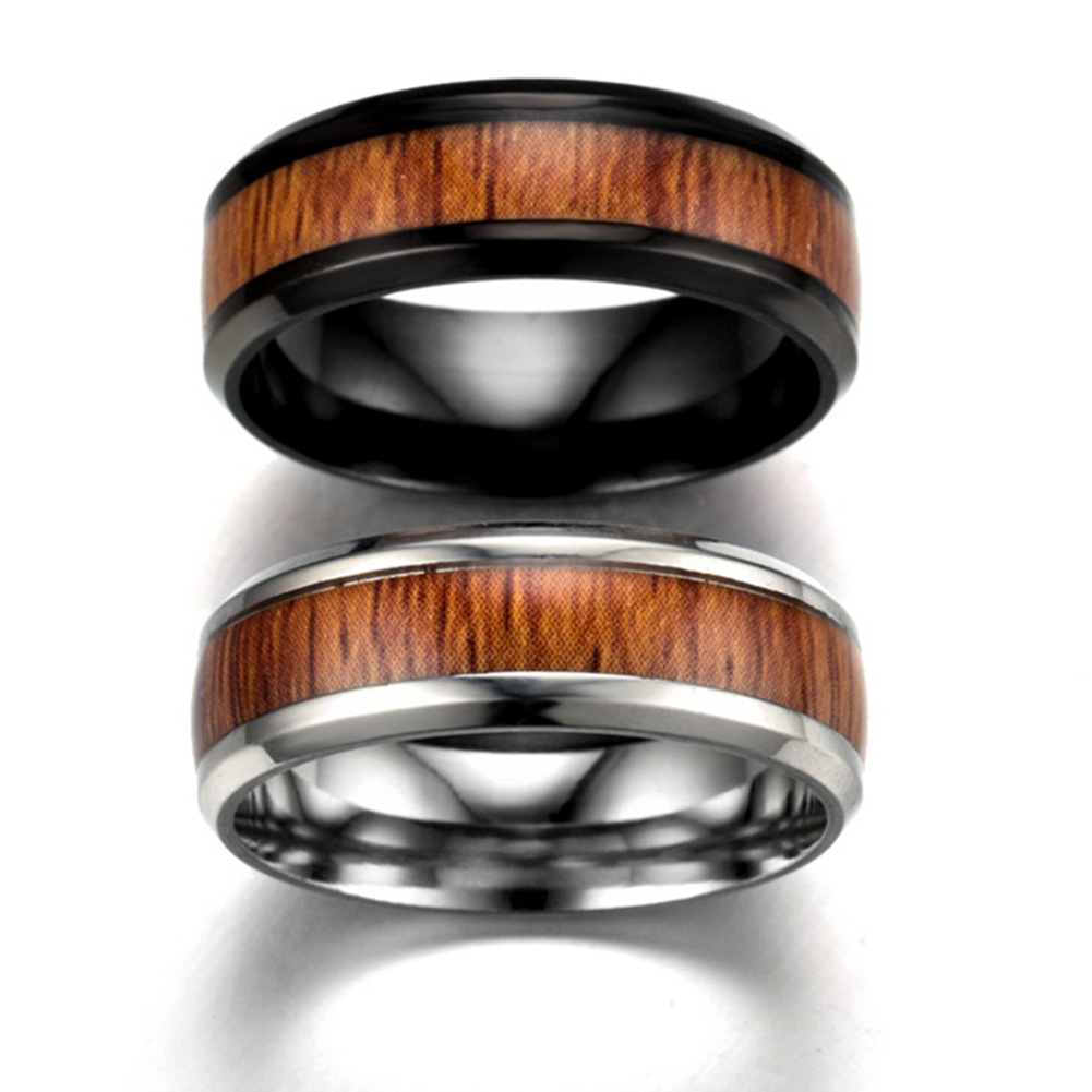 8mm Vintage Wood Inlay Stainless Ring Men Engagement Rings