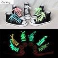Cora wang 1 par 100 cm/80 cm deporte hombres mujeres luminoso cordones de los zapatos Brillan En La Oscuridad Fluorescentes Cordones de Los Zapatos Cordones de Los Zapatos Planos ASL661C