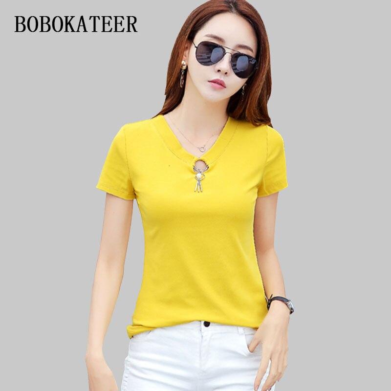 BOBOKATEER Short Sleeve Women T Shirts Women 2018 Summer Cotton Camisetas Mujer Slim Tshirt Haut Femme Casual T Shirt Women Tops