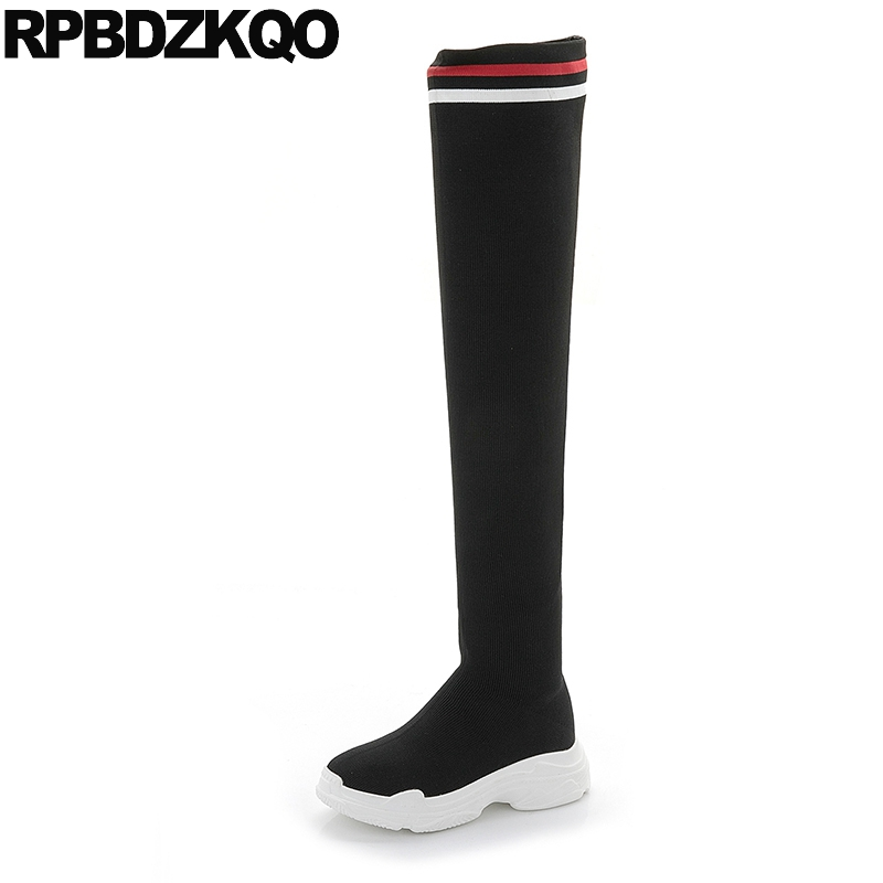 british sock knit shoes slip on platform long stretch thigh high slim over the knee women boots winter 2018 wedge autumn black black stretch fabric suede over the knee open toe knit boots cut out heel thigh high boots in beige knit elastic sock long boots