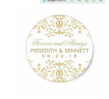 1 5inch Wedding Favor Stickers Gold Vintage Glamour