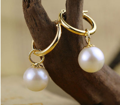 Wholesale price 16new ^^^^ 10-11mm perfect round white Australia south sea pearl dangle earring 14K GOLD