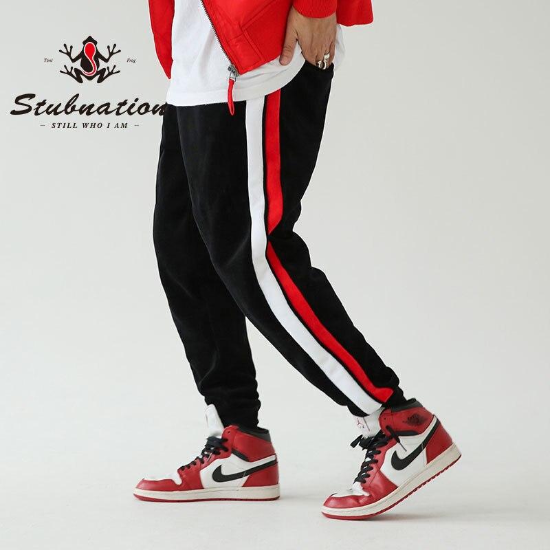 Stubnation Side Striped Casual Jogger Pants Winter Thick Fleece Sweatpants Men Loose Stylish Harem Pants Hip Hop Swag Pants men side striped embellished jogger