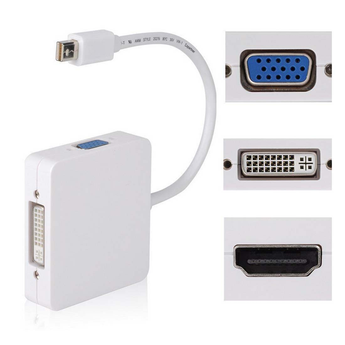3 in1 Thunder bolt Mini Displayport DP to HDMI DVI VGA Adapter Display Port Cable for Apple Mac Book Pro Mac Book Air