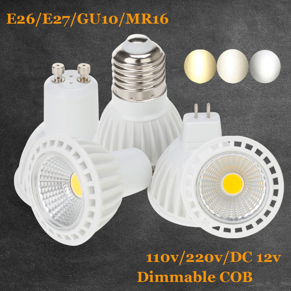 Dimmable GU10 LED Spot Light Aluminum AC 220V 110V MR16 DC 12V E26 E27 LED Bulb LED Light 5W 7W 9W COB LED Spotlight Indoor