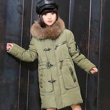 New girls down jacket winter thicken children's down coat jackets for girl big fur collar long overcoat warm outerwear parka