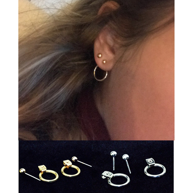 E025 Fashion Jewelry Gold Color Small Size Hoop Earrings Women Simple Round Circ