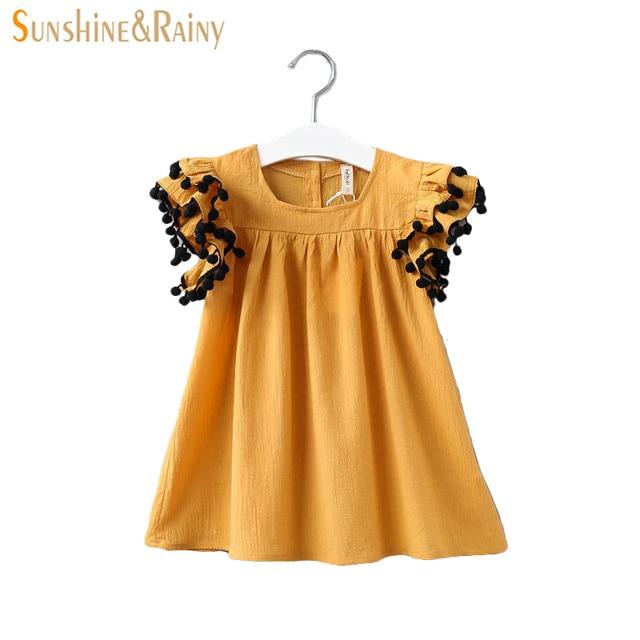 6fa44ed6c89 Sunshine   Rainy Summer Baby Girls Dress Pom Pom Tassel Sleeve Toddler Girl  Dresses Solid Color Cute Girls Princess Vestidos