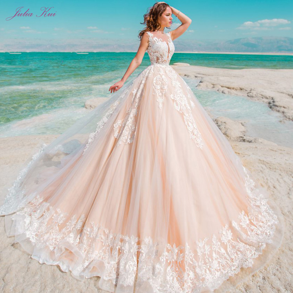 Julia Kui Illusion Scoop Neck And Back With Embroidery Appliques Ball Gown Bride Dress Charming Button
