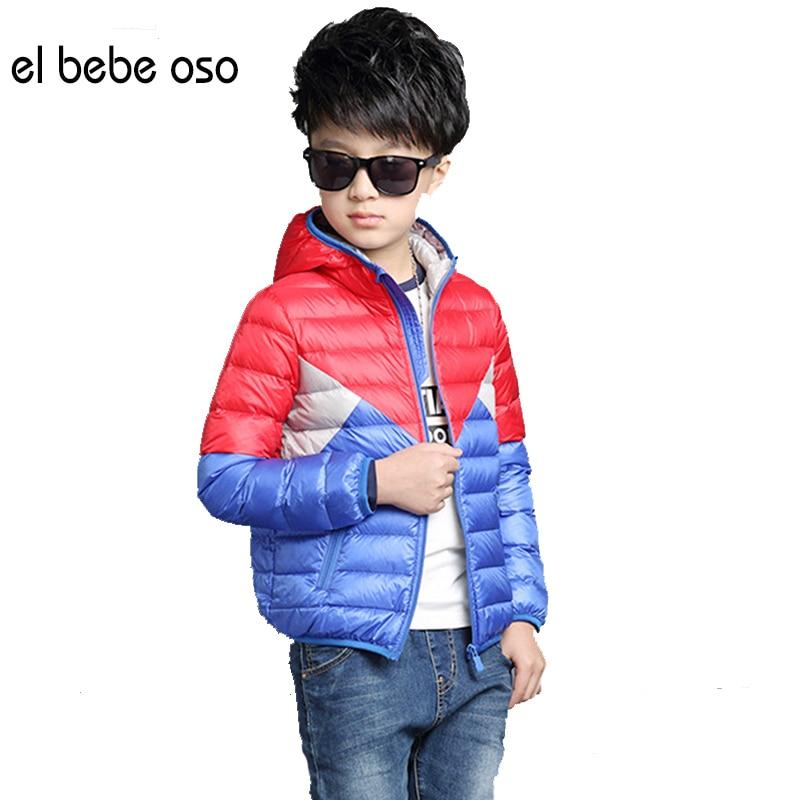 ФОТО el bebe oso Boy Hooded White Duck Down Jacket Children Outerwear Boy Winter Warm Hooded Coat Children Clothes Kid Jackets XL649