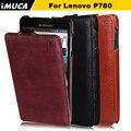 Para lenovo p780 caso de lujo del tirón original cubierta de cuero para lenovo p780 del teléfono móvil bolsos y cajas con menor paquete