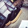 Mulheres da moda Sapatos Casuais zapatos mujer Rihanna Escaladores de Camurça Sapatos de Couro sapatos de plataforma Rendas até Apartamentos das Mulheres tamanho 35-40