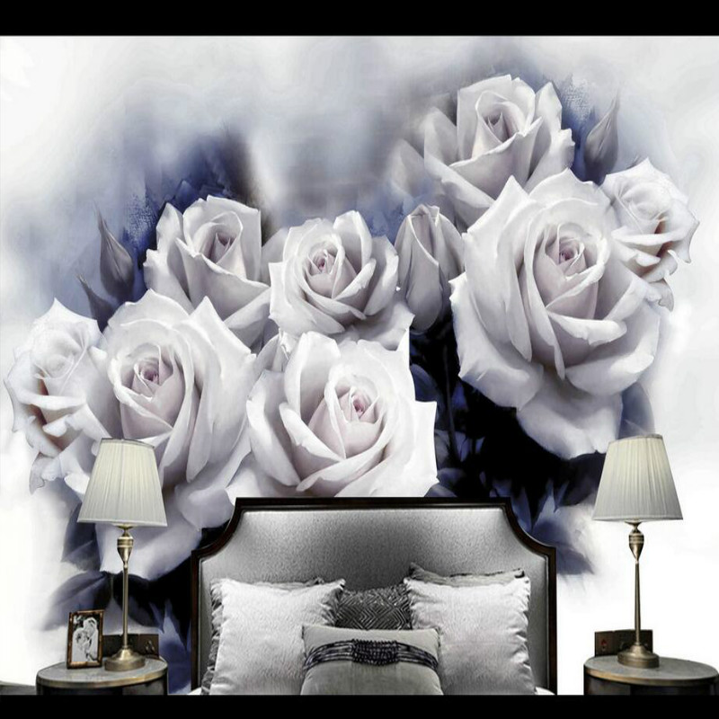 3D Wallpaper for Walls 3d Decorative Vinyl Wall Paper Background Painting Mural Wallpapers Beautiful White Rose Retro shinehome chinese purple rose flower wallpapers custom mural for 3d living rooms walls paper murals decorative wallpaper roll