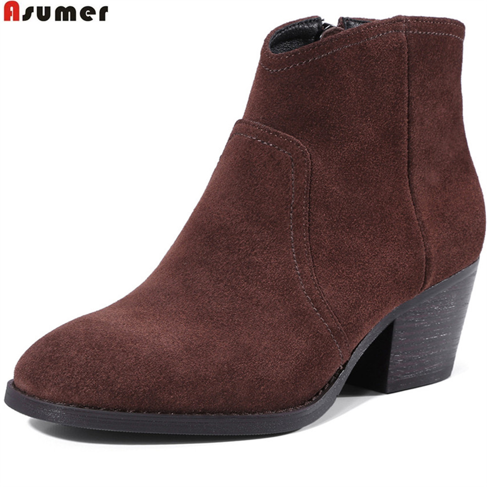 Asumer 2018 fahsion women boots round toe zipper square heel cow suede ladies boots black comfortable leather boots asumer fashion new women boots round toe zipper ladies genuine leather boots square heel keep warm cow leather mid calf boots