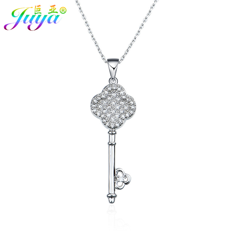 Aliexpress Fashion Micro Pave Zircon Copper Clover Flower Key Pendants Suspensions Link Chains Necklace Christmas Gifts