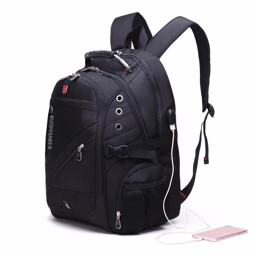 Oxford Swiss 17 Inch Laptop Backpack Men USB Charging Waterproof Travel Backpack Women Rucksack Male Vintage School Bag mochila
