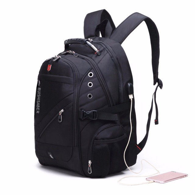 Unisex Travel Backpack 17 Inch Oxford Swiss USB Charging Waterproof