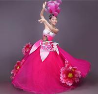 Modern Chinese Traditional dance Dress Flowers opening dance dresses Ballroom flamenco dance costumes