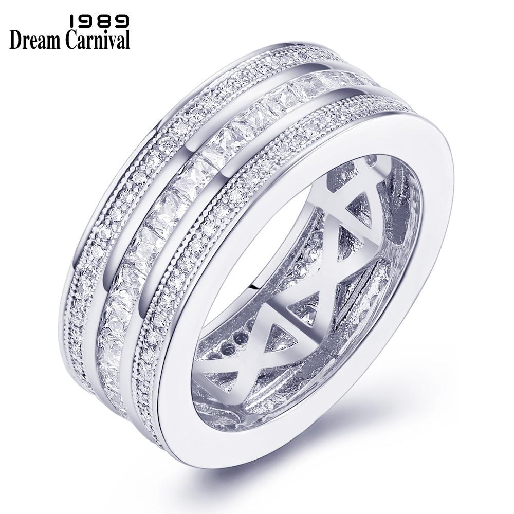 Dreamcarnival 1989 anel empilhável para as mulheres clássico casamento banda ródio cor do ouro 3 rolos cz aniversário jóias anillos 65924
