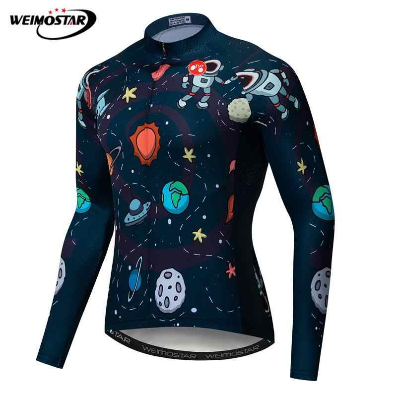 a650166a2 Weimostar astronaut Cycling Jersey Long Sleeve Autumn Mountain Bike  Clothing Pro Team Bicycle Shirt Quick Dry