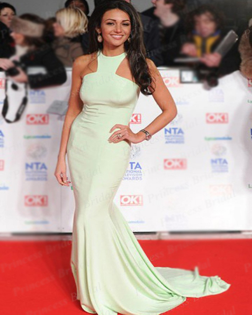 c046f3b3a4719 Free Shipping Wholesale Mermaid Halter Neck Michelle Keegan Mint Green  Celebrity Dress National Television Awards