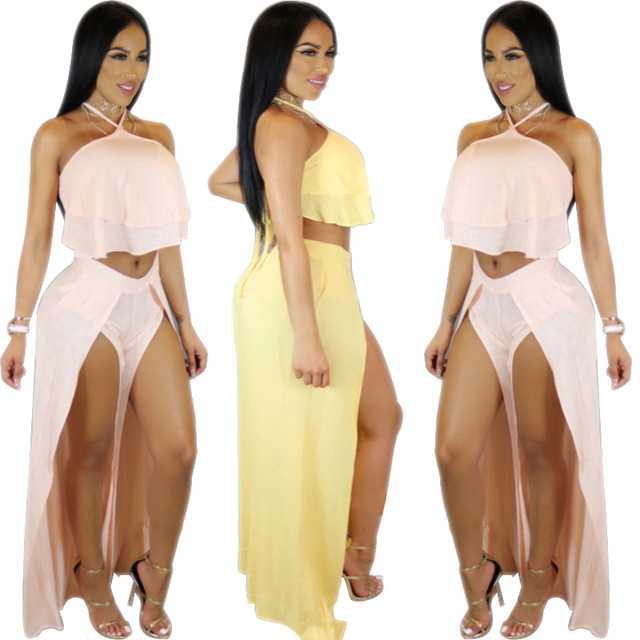 ecbcaa11e59 VAZN 2017 Hot Fashion 2-Piece Sexy Jumpsuit Summer Backless Bodycon Jumpsuits  Women Solid Yellow Pink Night Club Rompers L6877