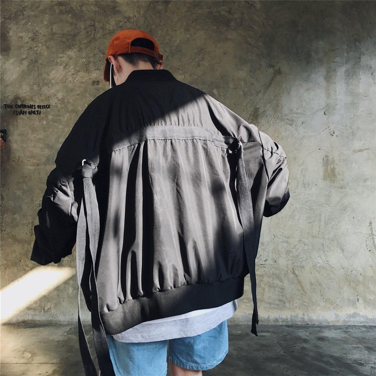 2018 automne nouvelle exquise version coréenne de lâche baseball col décontracté veste rue danse rue sauvage noir/vert M-XL