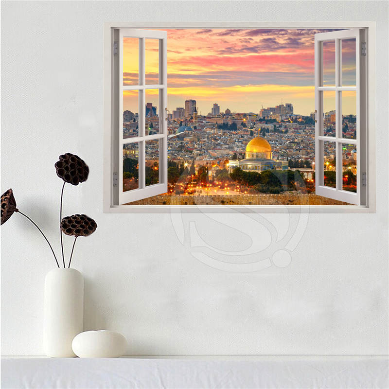 Fabric Wall Posters : Custom canvas poster jerusalem in the window cloth